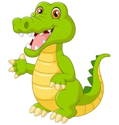 cartoon crocodile waving hand vector image vector image