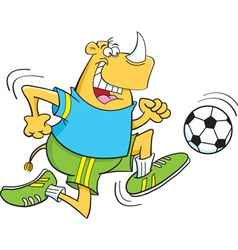 Cartoon Rhino Playing Soccer vector image vector image