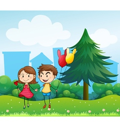 Couple dating at the top of the hills vector image