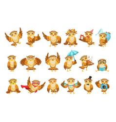 Cute brown owl emoji icon set vector