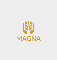 Ear logotype grain wheat with hands logo vector