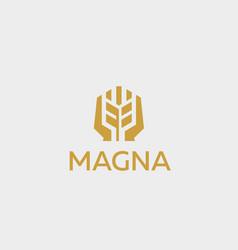 Ear logotype grain wheat with hands logo vector
