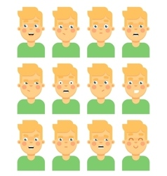 Face emotional icon on white background vector image vector image