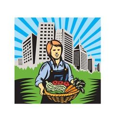 Female organic farmer harvest building retro vector