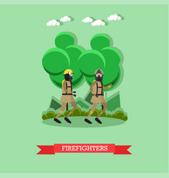 firefighters in flat style vector image vector image