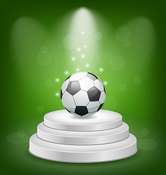 Football ball on white podium with light vector