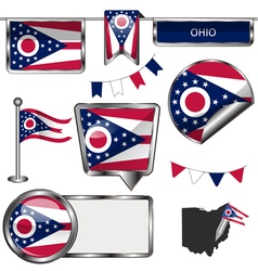 Glossy icons with Ohioan flag vector image vector image
