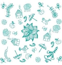 Green doodle art for kids vector