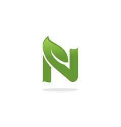 letter n leaf logo vector image