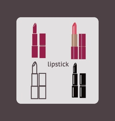 Lipstick silhouette cosmetics Icons vector image