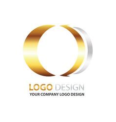 Logo circle design gold and silver color vector