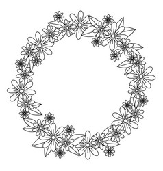 Monochrome contour with circular wreath with vector