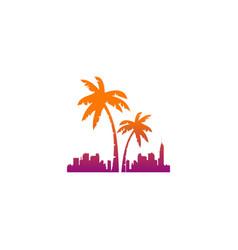 palm tree hotel tropic logo vector image vector image