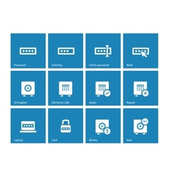 Password icons on blue background vector image