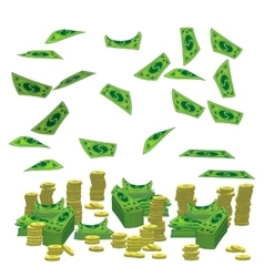 Pile a lot of coins and paper money dollar vector