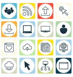 Set of 16 world wide web icons includes data vector