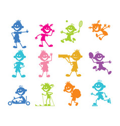 set of cartoon children vector image