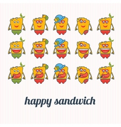 set of happy sandwich vector image vector image