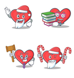 Set of heart character with santa book judge candy vector