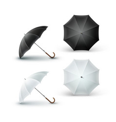 Set of white black opened rain umbrella sunshade vector