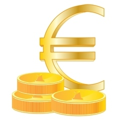 Sign euro and coins vector image vector image