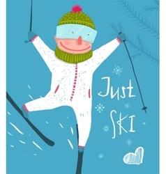 Skier funny free rider jump fun poster design vector
