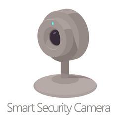 Smart security camera icon cartoon style vector