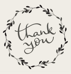 Thank you text with round frame on background vector
