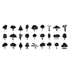 tree icon set simple style vector image