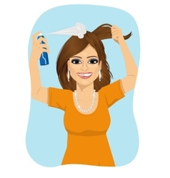 Woman spraying her hair with dry shampoo vector