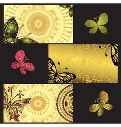 Set of golden business cards vector