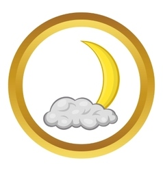Crescent moon and cloud icon vector