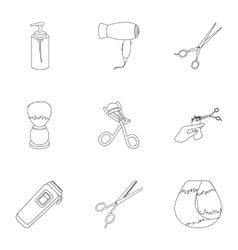 Hairdresser set icons in outline style big vector
