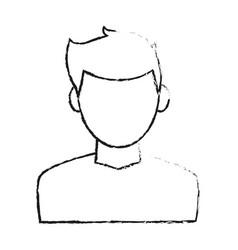 Blurred silhouette cartoon faceless half body man vector