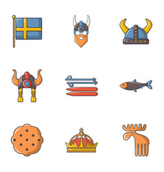 Sweden history icons set cartoon style vector