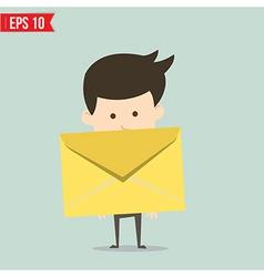 Business man holding envelope vector image