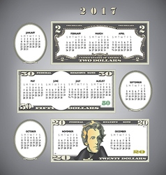 2017 Money calendar Blanks vector image