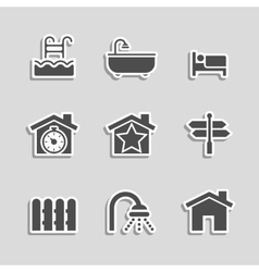 Real estate icons set as labels vector