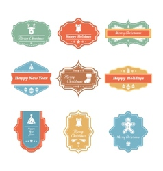 Christmas badges collection vector image