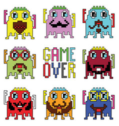 Pixelated hipster robot emoticons vector