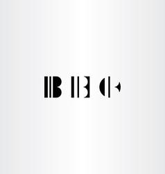 Letter b black icons set elements vector