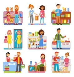 Family shopping concept flat pictograms vector