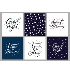Good night lettering postcard set vector