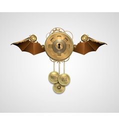 Metallic banner locket with wings a keyhole and vector