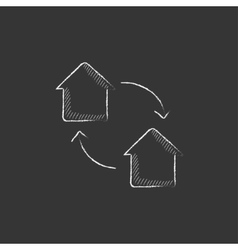House exchange drawn in chalk icon vector