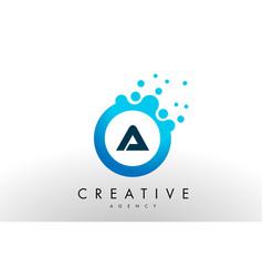 A letter logo blue dots bubble design vector
