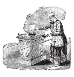 Altar of incense vintage vector