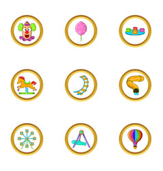 Amusement icon set cartoon style vector