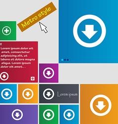 Arrow down download load backup icon sign metro vector