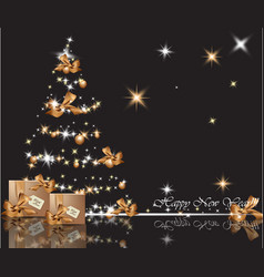 beautiful gold christmas tree on shiny background vector image